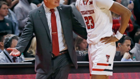 <p>               Texas Tech coach Chris Beard talks to Jarrett Culver during the first half of the team's NCAA college basketball game against Oklahoma State, Wednesday, Feb. 27, 2019, in Lubbock, Texas. (AP Photo/Brad Tollefson)             </p>