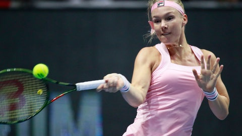 <p>               Kiki Bertens of Netherlands returns the ball to Donna Vekic of Croatia during the St. Petersburg Ladies Trophy-2019 tennis tournament final match in St.Petersburg, Russia, Sunday, Feb. 3, 2019. (AP Photo/Dmitri Lovetsky)             </p>