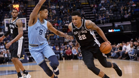 <p>               San Antonio Spurs forward Rudy Gay (22) handles the ball against Memphis Grizzlies forward Bruno Caboclo (5) during the second half of an NBA basketball game Tuesday, Feb. 12, 2019, in Memphis, Tenn. (AP Photo/Brandon Dill)             </p>