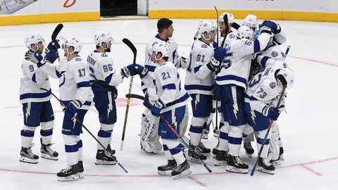 <p>               Tampa Bay Lightning players celebrate a 1-0 shootout win against the New York Islanders in an NHL hockey game, Friday, Feb. 1, 2019, in Uniondale, N.Y. (AP Photo/Kathleen Malone-Van Dyke)             </p>