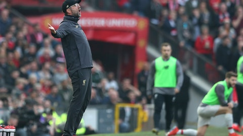 <p>               Liverpool manager Juergen Klopp reacts during the English Premier League soccer match between Manchester United and Liverpool at Old Trafford stadium in Manchester, England, Sunday, Feb. 24, 2019. (AP Photo/Jon Super)             </p>