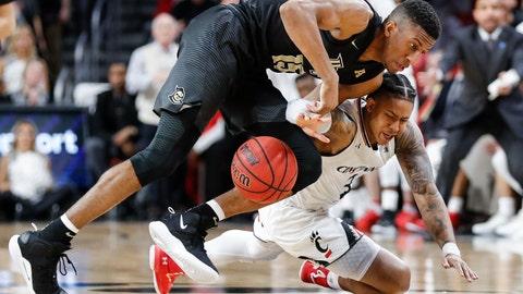 <p>               Cincinnati guard Justin Jenifer (3) and Central Florida guard Aubrey Dawkins (15) scramble for a loose ball during the first half of an NCAA college basketball game Thursday, Feb. 21, 2019, in Cincinnati. (AP Photo/John Minchillo)             </p>