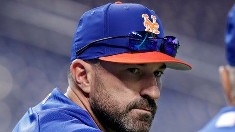 <p>               FILE - In this June 30, 2018, file photo, New York Mets manager Mickey Callaway watches batting practice before a baseball game against the Miami Marlins in Miami. Callaway is set to begin his second spring training in charge of the Mets, this time with a revamped roster under a new general manager who expects the team to contend. (AP Photo/Lynne Sladky, File)             </p>