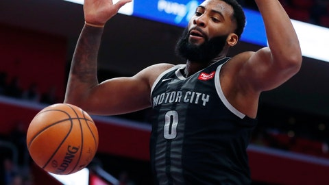 <p>               Detroit Pistons center Andre Drummond dunks during the first half of an NBA basketball game against the New York Knicks, Friday, Feb. 8, 2019, in Detroit. (AP Photo/Carlos Osorio)             </p>