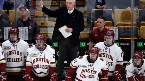 <p>               Boston College head coach Jerry York calls to his players during the first period of the NCAA hockey Beanpot tournament championship game against Northeastern in Boston, Monday, Feb. 11, 2019. Boston College announced they signed hockey coach York to a contract extension. The school said on Monday that the five-time NCAA champion received a multi-year deal. York is college hockey's all-time winningest coach with 1,063 career victories. (AP Photo/Charles Krupa)             </p>