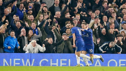 <p>               Chelsea's Pedro, left, celebrates with his teammate Eden Hazard after scoring his side's opening goal during the English Premier League soccer match between Chelsea and Tottenham Hotspur at Stamford Bridge stadium, in London, Wednesday, Feb. 27, 2019. (AP Photo/Tim Ireland)             </p>