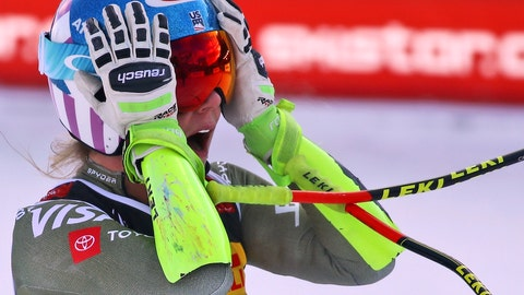 <p>               United States' Mikaela Shiffrin checks her time at the end of the women's super G during the alpine ski World Championships, in Are, Sweden, Tuesday, Feb. 5, 2019. (AP Photo/Marco Trovati)             </p>