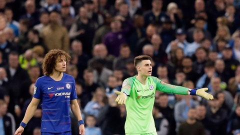 <p>               Chelsea goalkeeper Kepa Arrizabalaga, right, and Chelsea's David Luiz react during the English League Cup final soccer match between Chelsea and Manchester City at Wembley stadium in London, England, Sunday, Feb. 24, 2019. (AP Photo/Tim Ireland)             </p>