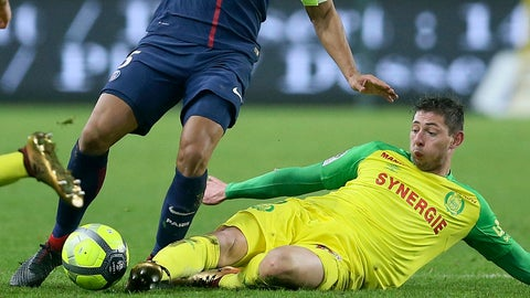 <p>               FILE - In this Sunday, Jan. 14, 2018 file photo Nantes' forward Emiliano Sala makes a tackle during a French League One soccer match, in Nantes, western France. The Argentine forward, who scored his last goal for Nantes on Dec. 5 in a 3-2 win over Marseille, was killed in a plane crash last month and his body was recovered from the wreckage on Thursday, Feb. 7, 2019 authorities said. (AP Photo/David Vincent, File)             </p>