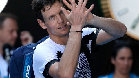 <p>               FILE - In this Sunday, Jan. 20, 2019 file photo, Tomas Berdych of the Czech Republic waves after his fourth round loss to Spain's Rafael Nadal at the Australian Open tennis championships in Melbourne, Australia. Former champion Tomas Berdych has reached the Open Sud de France semifinals the hard way by saving two match points in a 7-6, 6-7, 7-5 win against Filip Krajinovic on Friday, Feb. 8, 2019. The two players were meeting for the first time on the ATP Tour and made it a contest to remember. (AP Photo/Aaron Favila, file)             </p>