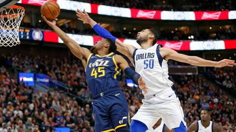 <p>               Utah Jazz guard Donovan Mitchell (45) goes to the basket as Dallas Mavericks center Salah Mejri (50) defends during the second half of an NBA basketball game Saturday, Feb. 23, 2019, in Salt Lake City. (AP Photo/Rick Bowmer)             </p>