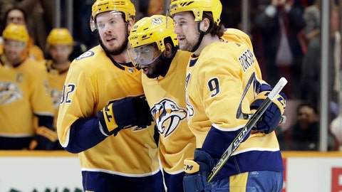 <p>               Nashville Predators defenseman P.K. Subban, center, celebrates with Ryan Johansen (92) and Filip Forsberg (9), of Sweden, after Subban scored against the Detroit Red Wings during the second period of an NHL hockey game Tuesday, Feb. 12, 2019, in Nashville, Tenn. (AP Photo/Mark Humphrey)             </p>