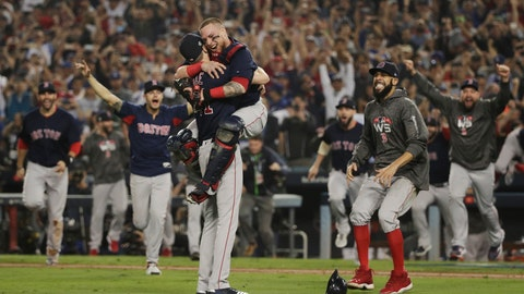 <p>               FILE - In this Oct. 28, 2018, file photo, the Boston Red Sox celebrate after Game 5 of baseball's World Series against the Los Angeles Dodgers, in Los Angeles. The goal is the same for the Red Sox in 2019: finish the season flopping around on the pitcher's mound, celebrating another World Series title. (AP Photo/Jae C. Hong, File)             </p>