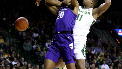<p>               Baylor guard Mark Vital, right, breaks up ta shot by Kansas State forward Xavier Sneed, left, in the first half of an NCAA college basketball game, Saturday, Feb. 9, 2019, in Waco, Texas. (Rod Aydelotte/Waco Tribune Herald, via AP)             </p>