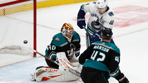 <p>               Anaheim Ducks goaltender Kevin Boyle, left, deflects the puck as teammate Josh Manson and Vancouver Canucks' Bo Horvat watch during the third period of an NHL hockey game Wednesday, Feb. 13, 2019, in Anaheim, Calif. The Ducks won 1-0. (AP Photo/Jae C. Hong)             </p>