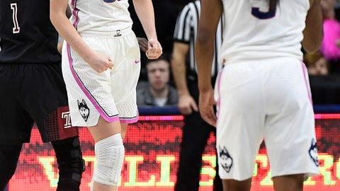 <p>               Connecticut's Katie Lou Samuelson (33) reacts toward teammate Crystal Dangerfield (5) during the first half of an NCAA college basketball game against Temple, Saturday, Feb. 9, 2019, in Storrs, Conn. (AP Photo/Jessica Hill)             </p>