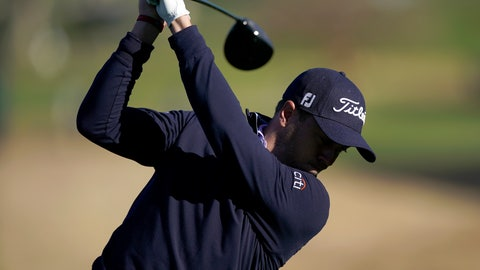 <p>               Justin Thomas tees off on the ninth hole as third round play continues during the Genesis Open golf tournament at Riviera Country Club on Sunday, Feb. 17, 2019, in the Pacific Palisades area of Los Angeles. (AP Photo/Ryan Kang)             </p>