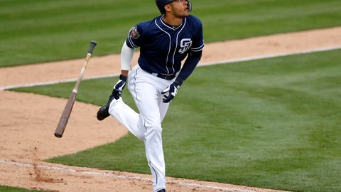 <p>               FILE - In this Friday, Feb. 23, 2018, file photo, San Diego Padres' Fernando Tatis runs up the first baseline after hitting a home run in the eighth inning of a spring training baseball game against the Seattle Mariners in Peoria, Ariz. Tatis' eagerly awaited major league debut most likely will come this year, if not on opening day then after he gets some time in Triple-A. (AP Photo/Charlie Neibergall, File)             </p>