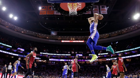<p>               Philadelphia 76ers' Ben Simmons goes up for a dunk during the first half of the team's NBA basketball game against the Miami Heat, Thursday, Feb. 21, 2019, in Philadelphia. (AP Photo/Matt Slocum)             </p>