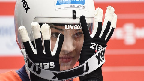 <p>               Summer Britcher of the U.S. prepares to compete in women competition at the Luge World Cup 2018/2019 in Sochi, Russia, Saturday, Feb. 23, 2019. (AP Photo/Ekaterina Lyzlova)             </p>