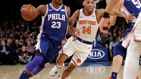 <p>               Philadelphia 76ers' Jimmy Butler (23) drives past New York Knicks' Allonzo Trier (14) during the first half of an NBA basketball game, Wednesday, Feb. 13, 2019, in New York. (AP Photo/Frank Franklin II)             </p>