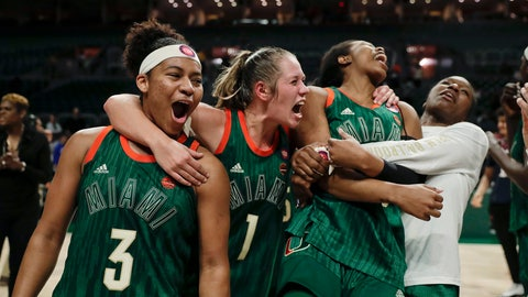 <p>               Miami's India Banks, aura Cornelius and Kelsey Marshall, from left, celebrate the team's win over Notre Dame in an NCAA college basketball game Thursday, Feb. 7, 2019, in Coral Gables, Fla. (AP Photo/Brynn Anderson)             </p>