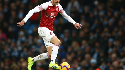 <p>               Arsenal's Aaron Ramsey controls the ball during the English Premier League soccer match between Manchester City and Arsenal at Etihad stadium in Manchester, England, Sunday, Feb. 3, 2019. (AP Photo/Dave Thompson)             </p>
