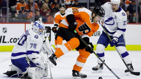 <p>               Tampa Bay Lightning's Louis Domingue (70) blocks a shot as Philadelphia Flyers' James van Riemsdyk (25) and Lightning's Ryan McDonagh (27) look for the rebound during the second period of an NHL hockey game, Tuesday, Feb. 19, 2019, in Philadelphia. (AP Photo/Matt Slocum)             </p>