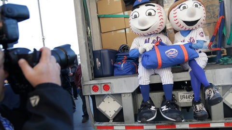 <p>               New York Mets mascots Mr. and Mrs. Met pose for pictures with the team's equipment before it is sent to spring training at Citi Field in New York, Monday, Feb. 4, 2019. (AP Photo/Seth Wenig)             </p>