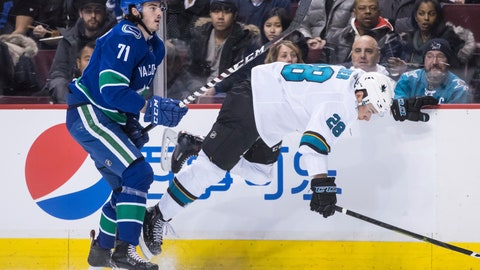 <p>               Vancouver Canucks' Zack MacEwan, left, checks San Jose Sharks' Timo Meier, of Switzerland, during the first period of an NHL hockey game in Vancouver, British Columbia, on Monday, Feb. 11, 2019. (Darryl Dyck/The Canadian Press via AP)             </p>
