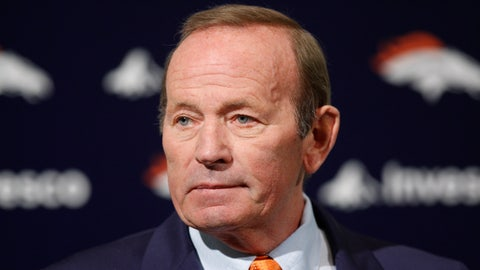 <p>               In this Jan. 5, 2011, file photo, Denver Broncos owner Pat Bowlen talks about Hall of Fame quarterback John Elway, whom he named executive vice president of football operations, during a news conference at the team's NFL football headquarters in Englewood, Colo. John Elway has a good feeling that Denver Broncos owner Pat Bowlen will join him in the Hall of Fame this weekend. (AP Photo/ Ed Andrieski, File)             </p>
