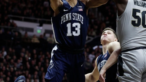 <p>               Purdue forward Trevion Williams (50) blocks the shot of Penn State guard Rasir Bolton (13) during the first half of an NCAA college basketball game in West Lafayette, Ind., Saturday, Feb. 16, 2019. (AP Photo/Michael Conroy)             </p>