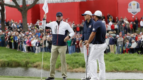 <p>               File-This Sept. 28, 2016, file photo shows United States vice-captain Steve Stricker, left, holding a flag for United States' Jordan Spieth and United States' Patrick Reed during a practice round for the Ryder Cup golf tournament at Hazeltine National Golf Club in Chaska, Minn. Stricker called Reed before he was named Ryder Cup captain to clear the air. (AP Photo/David J. Phillip, File)             </p>
