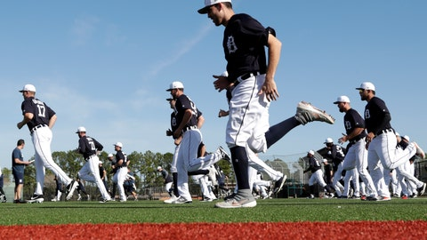 <p>               Detroit Tigers starting pitcher Matthew Boyd, center, loosens up at the Detroit Tigers spring training baseball facility, Friday, Feb. 15, 2019, in Lakeland, Fla. (AP Photo/Lynne Sladky)             </p>