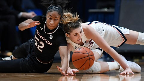 <p>               South Carolina's Tyasha Harris, left, and Connecticut's Katie Lou Samuelson dive for a loose ball during the second half of an NCAA college basketball game, Monday, Feb. 11, 2019, in Hartford, Conn. (AP Photo/Jessica Hill)             </p>
