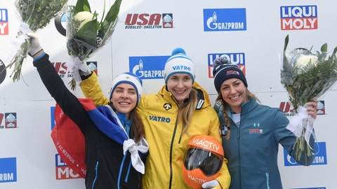 <p>               CORRECTS LOELLING, TO CENTER, AND TO GOLD MEDALIST - Gold medalist Jacqueline Loelling, center, of Germany, gold medalist Elena Nikitina, left, of Russia, and bronze medalist Kendall Wesenberg, of the United States, celebrate during the flower ceremony after the women's skeleton World Cup competition in Lake Placid, N.Y., Friday, Feb. 15, 2019. Loelling and Nikitina finished with the same time. (AP Photo/Hans Pennink)             </p>