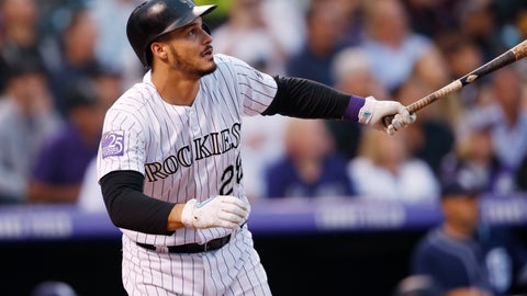 <p>               FILE - In this Aug. 21, 2018, file photo, Colorado Rockies' Nolan Arenado watches his RBI-double off San Diego Padres pitcher Robbie Erlin during a baseball game in Denver. Arenado and the Rockies have agreed to a $26 million, one-year deal to avoid arbitration, the largest ever one-year salary for an arbitration-eligible player. Colorado announced the deal Thursday, Jan. 31. (AP Photo/David Zalubowski, File)             </p>