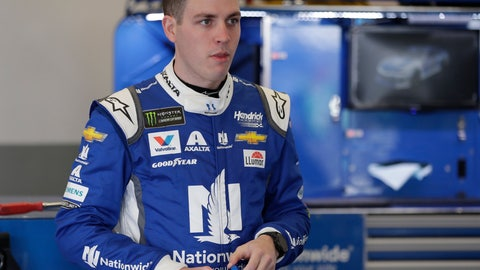 <p>               Alex Bowman takes a break in his garage during NASCAR auto race practice at Daytona International Speedway, Saturday, Feb. 9, 2019, in Daytona Beach, Fla. (AP Photo/John Raoux)             </p>