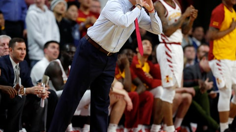 <p>               Iowa State head coach Steve Prohm disputes a call with an official during the first half of an NCAA college basketball game, Tuesday, Feb. 19, 2019, in Ames, Iowa. (AP Photo/Matthew Putney)             </p>