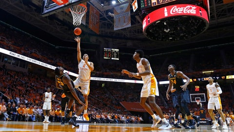 <p>               Tennessee forward Grant Williams (2) shoots as he collides with Missouri forward Jeremiah Tilmon (23) during the first half of an NCAA college basketball game Tuesday, Feb. 5, 2019, in Knoxville, Tenn. (AP photo/Wade Payne)             </p>