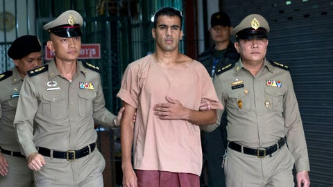 <p>               In this Monday, Feb. 4, 2019, photo, Bahraini Hakeem al-Araibi, center, leaves the criminal court in Bangkok, Thailand. Thailand's government insists it cannot free Hakeem who has refugee status in Australia until hearings on Bahrain's request for his extradition are completed.(AP Photo/Sakchai Lalit)             </p>