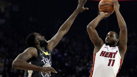 <p>               Miami Heat guard Dion Waiters, right, shoots against Golden State Warriors' Draymond Green, left, during the first half of an NBA basketball game day, Feb. 10, 2019, in Oakland, Calif. (AP Photo/Ben Margot)             </p>