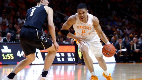 <p>               Tennessee forward Grant Williams (2) drives past Vanderbilt forward Yanni Wetzell (1) during the second half of an NCAA college basketball game Tuesday, Feb. 19, 2019, in Knoxville, Tenn. Tennessee won 58-46. (AP photo/Wade Payne)             </p>