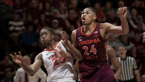 <p>               Virginia Tech forward Kerry Blackshear Jr.(24) and Virginia forward Mamadi Diakite (25) battle for position under the basket during a foul shot during the second half of an NCAA college basketball game in Blacksburg, Va., Monday, Feb. 18, 2019.(AP Photo/Lee Luther Jr.)             </p>