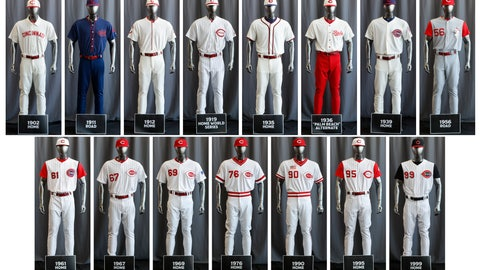 """<p>               In this compilation image, the entire Cincinnati Reds baseball team uniform lineup for the 2019 season is displayed, Friday, Jan. 25, 2019, in Cincinnati. The Reds will play games in 15 sets of throwback uniforms, including navy blue and a """"Palm Beach"""" style, during a season-long celebration of the 1869 Red Stockings who pioneered professional baseball. (AP Photo/John Minchillo)             </p>"""