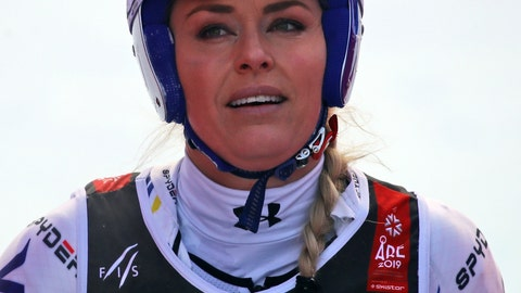 <p>               United States' Lindsey Vonn arrives at the finish area after crashing during the women's super G during the alpine ski World Championships, in Are, Sweden, Tuesday, Feb. 5, 2019. (AP Photo/Marco Trovati)             </p>