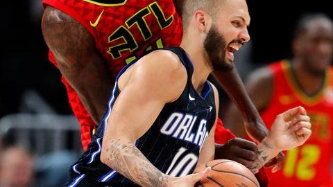 <p>               Orlando Magic guard Evan Fournier (10) is fouled by Atlanta Hawks center Dewayne Dedmon (14) during the first half of an NBA basketball game Sunday, Feb. 10, 2019, in Atlanta. (AP Photo/John Bazemore)             </p>