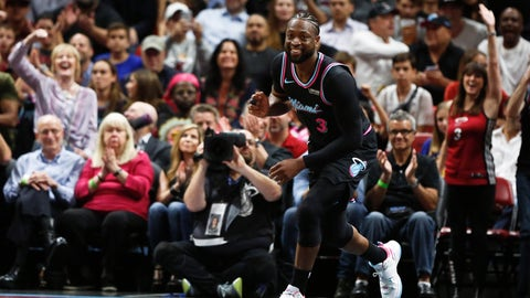 <p>               Miami Heat guard Dwyane Wade (3) smiles after he dunks the ball against the Golden State Warriors during the first half of an NBA basketball game Wednesday, Feb. 27, 2019, in Miami. (AP Photo/Brynn Anderson)             </p>