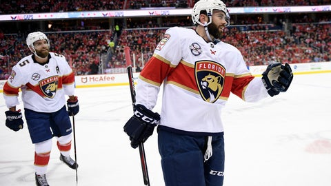 <p>               Florida Panthers defenseman Keith Yandle, right, reacts as he heads to the bench to celebrate his goal during the first period of an NHL hockey game against the Washington Capitals, Saturday, Feb. 9, 2019, in Washington. Also seen is defenseman Panthers Aaron Ekblad (5). (AP Photo/Nick Wass)             </p>