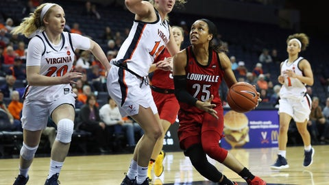 <p>               Louisville guard Asia Durr (25) looks to shoot past Virginia forward Lisa Jablonowski (14) during the first half of an NCAA college basketball game Thursday, Feb. 21, 2019, in Charlottesville, Va. (AP Photo/Zack Wajsgras)             </p>